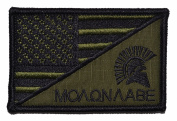 USA Flag / Spartan Head Molon Labe 2.25x3.5 Military Patch / Morale Patch - Olive Drab