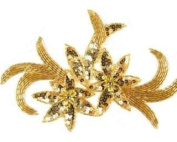 Sequin Flower Two By Shine Trim - Gold