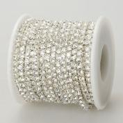 10 Yards Crystal Rhinestone Close Chain Clear Trim SS 2.6 mm in Silver Good Crafted DIY Ideas