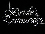 Bride's Entourage Clear Rhinestone Iron on Hotfix Transfer Bling DIY