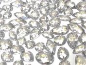 80 Clear Faceted Acrylic Sew On, Stick on Diamante Crystal Rhinestone Gems