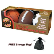 Pro Gold Mini Foam 10cm Basketball 15cm Football and 10cm Soccer Ball, 3-Ball Sport Pack with Free Storage Bag