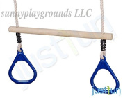 Wooden Trapeze with Plastic Triangular Gym Rings Blue- Outdoor Indoor Playground Swing Set Accessories Kids