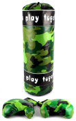 Jungle Camo Boxing Children's Pretend Play Toy Boxing Play Set w/ Stuffed Punching Bag, Pair of Soft Padded Boxing Gloves, Perfect for All Kids