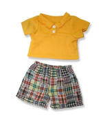 Boys Yellow Top and plaid pants - 9043 Fits 38cm - 41cm bears, includes Build a Bear, The Bear Mill, and Stuff your own Animals.