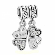 Sterling Silver Big/Little Sister Lil Sis Love Heart Clover Dangle Bead For Pandora European Charm Bracelets