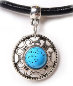 New Leather Choker Charm Necklace Vintage Hippy Retro Black Cord Faux Turquoise