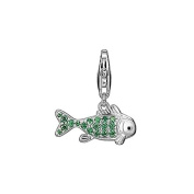 Esprit Eszz-90749 A. Green Fish Charm Silver Fish Charms with Green Zirconia