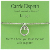 Carrie Elspeth Laugh Owl Wise Sentiment Stretch Bracelet