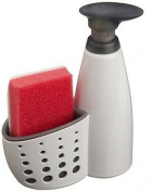 Casabella Sink Sider Soap Dispenser with Sponge Holder and Sponge, Countertop