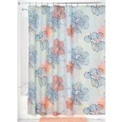 InterDesign Botanical Shower Curtain, 180cm x 180cm , Elsa, Coral Multi