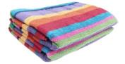 Cotton Craft - Jacquard Double Woven Velour Beach Towel 32x63 2 Pack, Summer of Siam Multi Stripe, Thick Plush Luxurious Velour Pile, 450 GSM, 100% Pure Ringspun Cotton, Brilliant Vibrant Colours