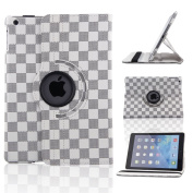 Creeracity New Grid Pattern Auto Sleep/Wake Function 360 Degree Rotating Smart Case Cover for iPad Air 2 Gen Generation - (Supports Auto Wake/Sleep Function) With Free Stylus -White