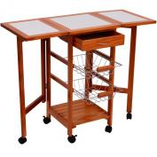 HomCom Portable Rolling Tile Top Drop Leaf Kitchen Trolley Cart