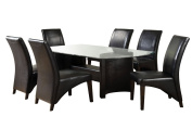 Furniture of America Themis 7-Piece Dining Table Set with 10mm Bevelled Glass Top, Espresso Finish
