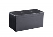 Hodedah Large Collapsible Ottoman, Black