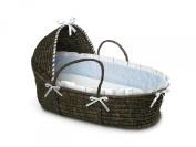 Espresso Moses Basket with Blue Gingham Bedding