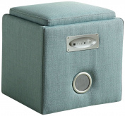 Furniture of America Uptempo Padded Flax Storage Ottoman with Bluetooth Speakers, Blue