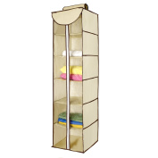 Moseeg™ Hanging Clothes Storage Box (6 Shelving Units with Zipper) - #1 Top Grade, Durable Accessory Shelves - Eco- Friendly Closet Cubby, Sweater & Handbag Organiser - Keep Your Wardrobe Clean & Tidy. Easy Mount, Ideal for all Clothing Types. Satisf ..