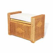Bruno Handmade Rattan Wicker Chest Storage Trunk Organiser Ottoman W/cushion Colonial