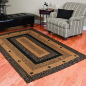 New IHF Home Decor Kitchen Braided Rug Star Black Design Rectangular Rugs 100% Jute Carpets Black with Tan Colour