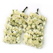 AllLife 144pc Chic Mini Artificial Paper Rose Flower Wedding Card Decor Craft DIY - Ivory