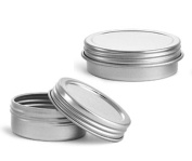 MagnaKoys® Silver Metal Tins w/ Top Lid Continuous Thread Cap Geocaching craft Organiser Container 30ml