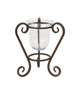 25cm Distressed Style Brushed Brown Hurricane Pillar Candle Holder with Scrolled Base