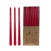 Mega Candles - Unscented 25cm Taper Candles - Red, Set of 12