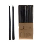 Mega Candles - Unscented 25cm Taper Candles - Black, Set of 12