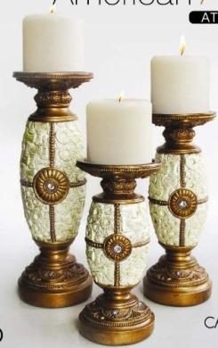 American Atelier Decorative Candle Holders, Cream, Set of 3