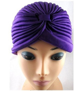 TOUCH Gadgets Full Head Turban Headwrap Indian Style Head Wrap Bandana Hat Hair Loss Chemo - Purple