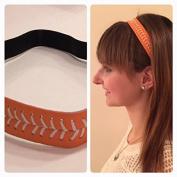 Fabulicious Orange White Stitch Leather Headband© - Stitching Seam Sports softball baseball fast pitch