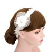 Wedding Organza Rhinestone Lace Ribbon Headband Flower Mesh Headpiece
