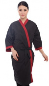 Black Salon Client Gown Hairdressing Gowns Kimono Style- 110cm Long