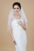 Nero Women's Charming 2 Tiers Beaded Elbow Length Bridal Wedding Veil with Comb and Paillettes Edge