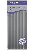 Annie Soft Twist Rollers, Grey, 25cm Long, 12 Count / 1 pack