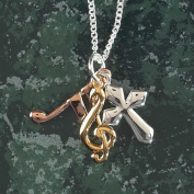 Tri-Colour Cross, Note and Treble Clef Silver Plated Pendant Necklace - 46cm Chain