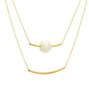 Pearl Gold Double Layered Bar Necklace 14K Gold Filled Bar Pendant Modern Minimalist Jewellery, Simple Pearl