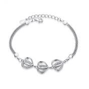 Sterling Silver Simulated Diamond Box Chain Bracelet