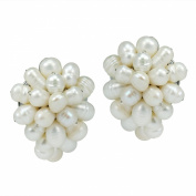 Pasty Forest Freshwater White Pearl Grape Clip On Earrings
