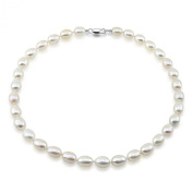 White Freshwater Cultured Pearl Necklace 9-10mm Natural Oval Shape pearls, 18 Inch Princess Length