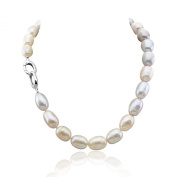 Multi Colour Lavender and Pink Freshwater Cultured Pearl Necklace 11-14mm Natural Rice/ Tear Drop/ Oval Shape pearls, 18 Inch Princess Length