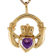 14k Yellow Gold Synthetic Alexandrite June Birthstone Claddagh Charm Pendant