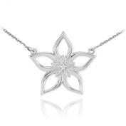 14k White Gold Diamond-Accented 5-Petal Star Flower Pendant Necklace