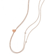 Two Strand Heart Necklace Cubic Zirconia Accents 14k Rose Gold on Sterling Silver Adjustable Length