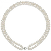 """Heart Shape Sterling Silver 2-rows 6-7mm White Cultured Freshwater High Lustre Pearl Necklace 17"""""""