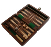 Backgammon Travel Set Wooden Board Hand Carved Game Vintage Folding Portable