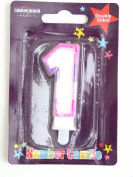 Number 1 - 1st Birthday Candle - Pink Glitter Edge -Double Sided Cake Decoration