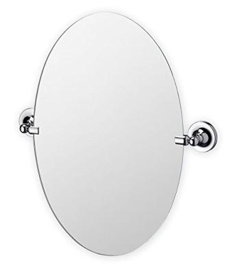 Bathroom Mirror Oval Round Swivel Pivot Chrome Silver Finish Wall Mounted